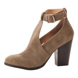 NIB Restricted Cutout Taupe Heeled Bootie